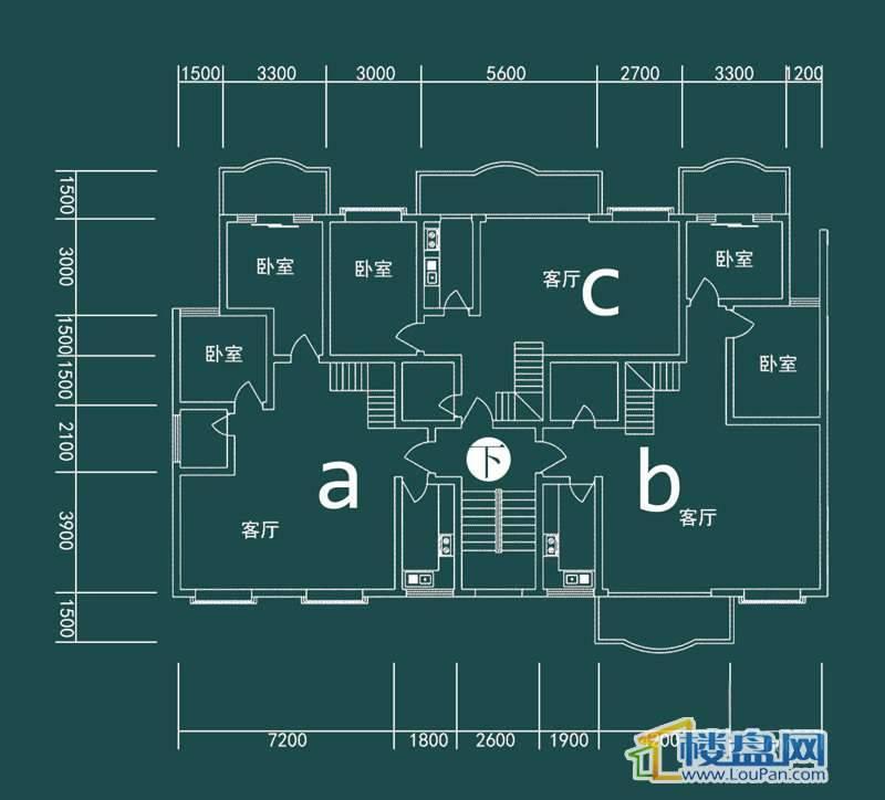 祥和家园三期嘉院E栋一单元A、B、C户型(跃层)-下层4室2厅2卫1厨
