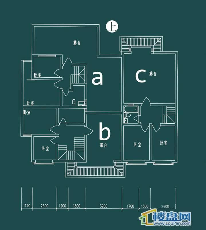 祥和家园三期嘉院F栋二单元A、B、C户型(跃层)-上层3室2厅2卫1厨
