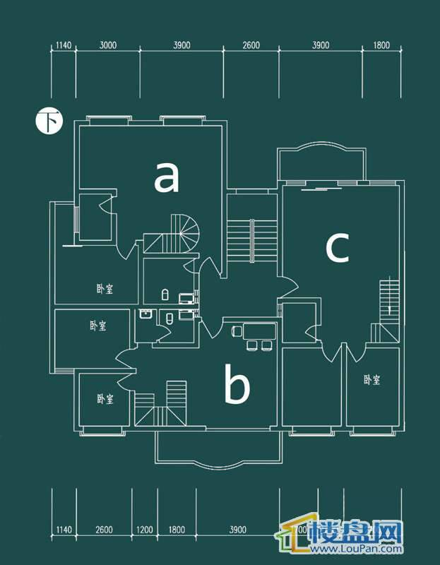 祥和家园三期嘉院F栋二单元A、B、C户型(跃层)-下层3室2厅2卫1厨
