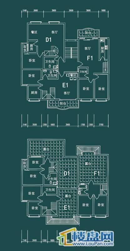 祥和家园三期嘉院F栋二单元D1、E1、F1户型3室2厅2卫1厨