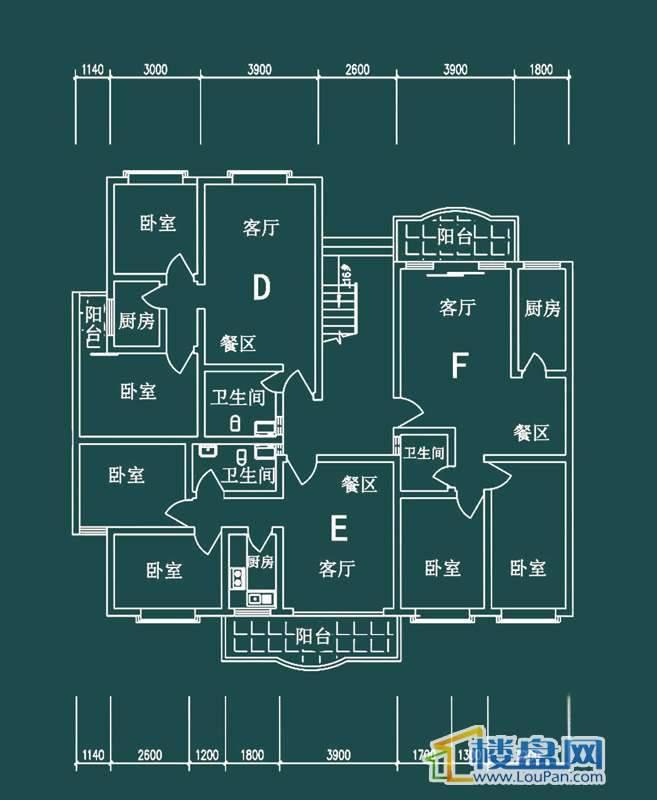 祥和家园三期嘉院F栋二单元D、E、F户型2室2厅1卫1厨