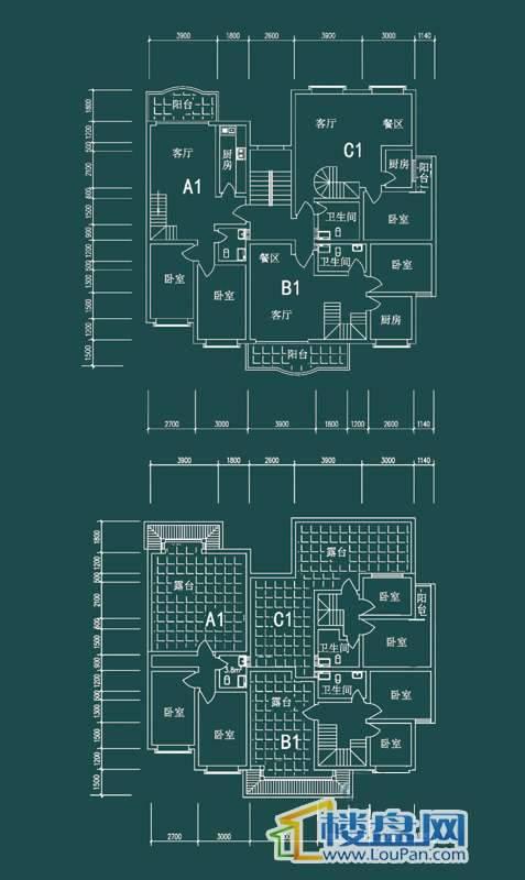 祥和家园三期嘉院F栋三单元A1、B1、C1户型3室2厅2卫1厨