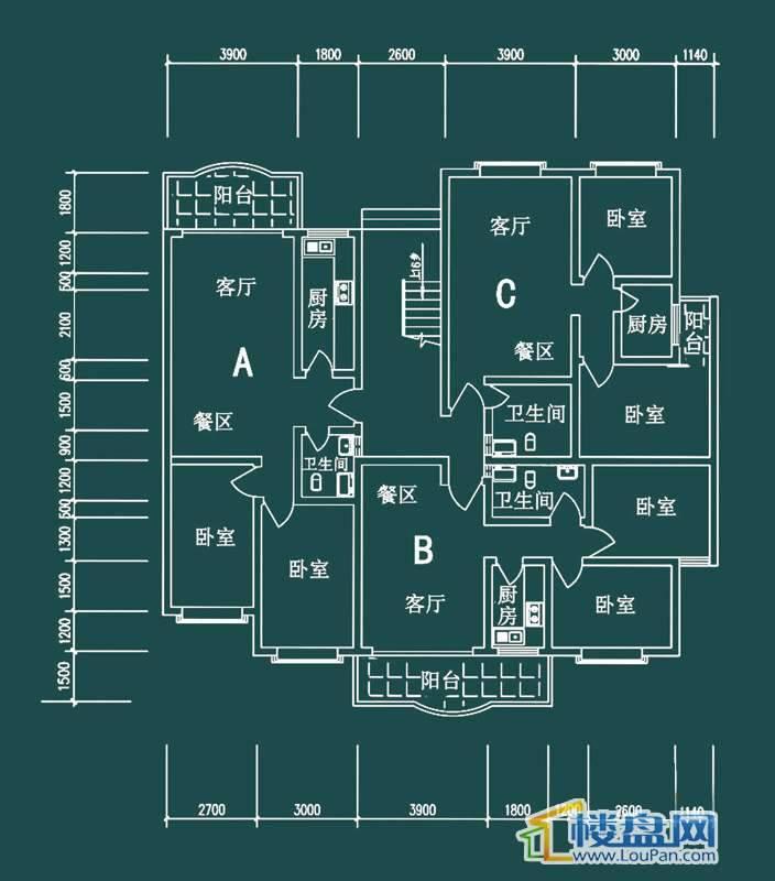 祥和家园三期嘉院F栋三单元A、B、C户型2室2厅1卫1厨
