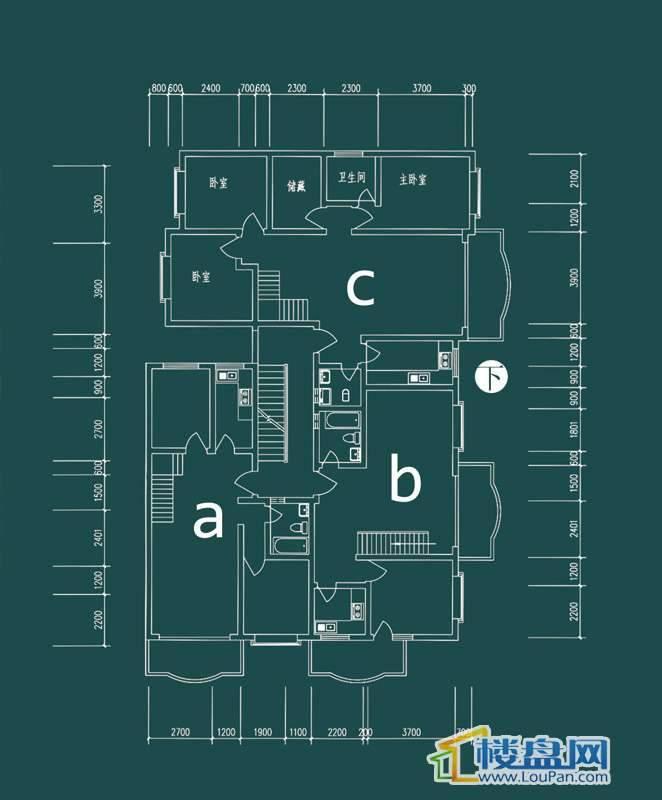 祥和家园三期嘉院F栋三单元A、B、C户型(跃层)-下层6室2厅3卫1厨