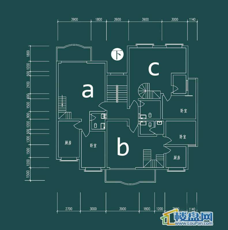 祥和家园三期嘉院F栋一单元A、B、C户型(跃层)-下层4室2厅2卫1厨