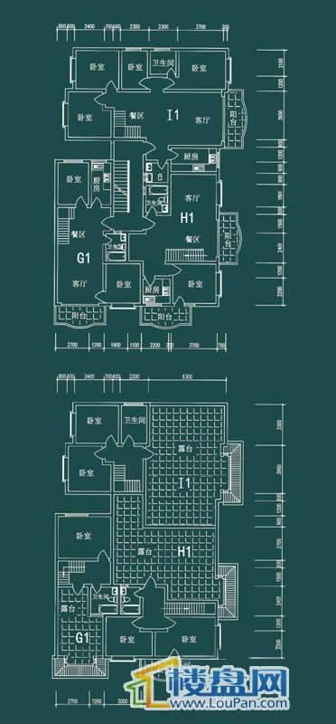 祥和家园三期嘉院F栋一单元G1、H1、I1户型6室2厅3卫1厨
