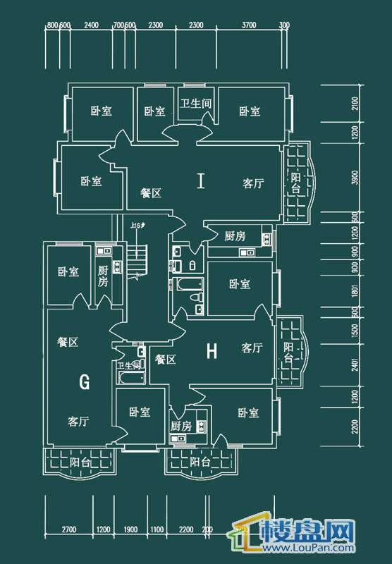 祥和家园三期嘉院F栋一单元G、H、I户型4室2厅2卫1厨