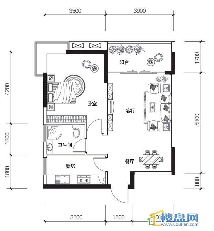 北京路1号1单元4号房户型1室2厅1卫1厨