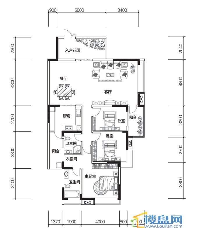 北京路1号1单元1号房户型3室2厅2卫1厨