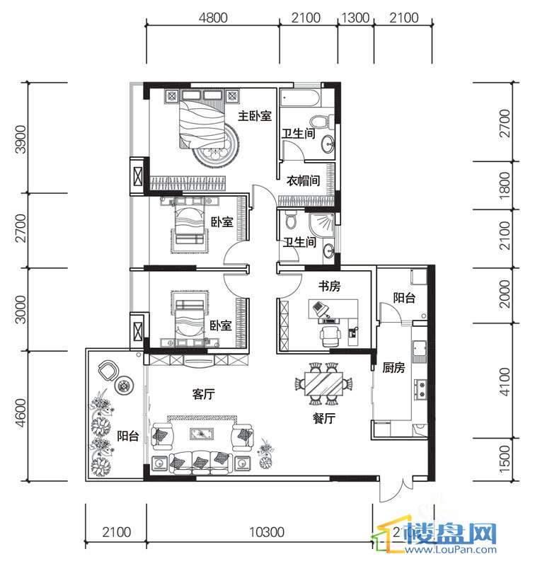 北京路1号1单元3号房户型4室2厅2卫1厨
