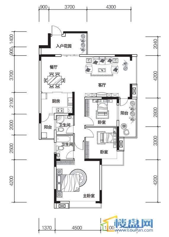 北京路1号2单元4号房户型3室2厅2卫1厨