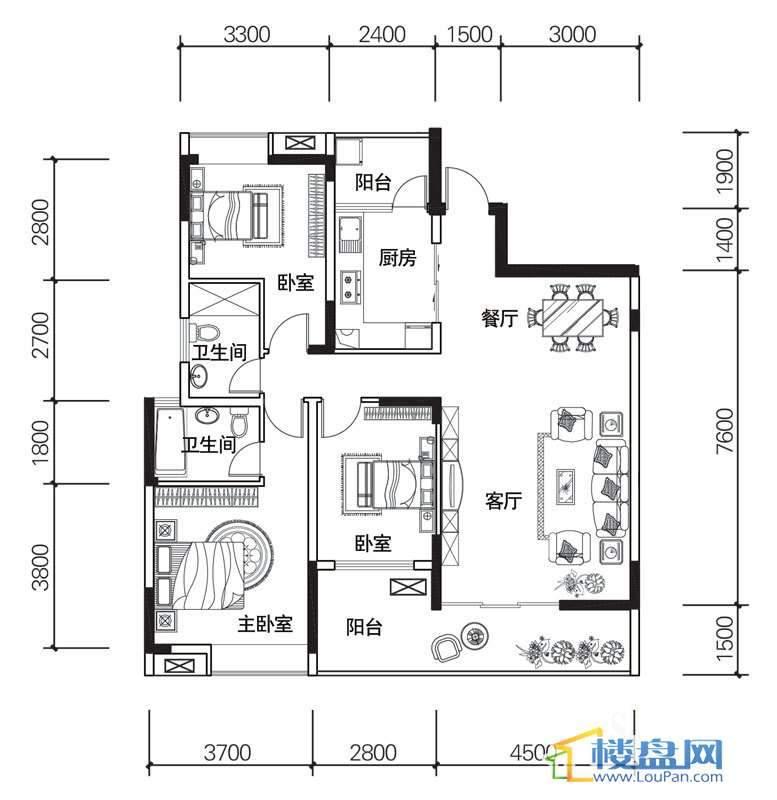 北京路1号2单元5号房户型3室2厅2卫1厨