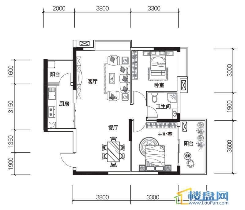 北京路1号2单元3号房户型2室2厅1卫1厨