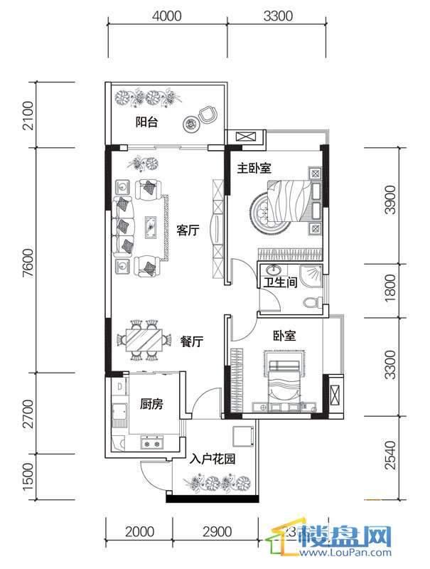 北京路1号2单元2号房户型2室2厅1卫1厨