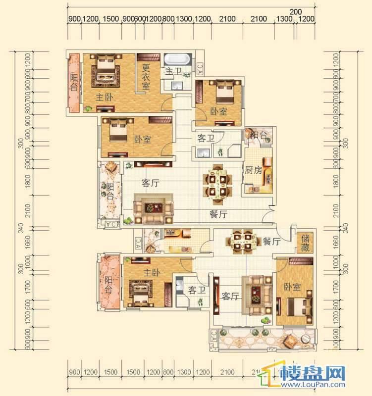 万豪城9-2-(1、2)-1、2号房户型2室2厅1卫1厨