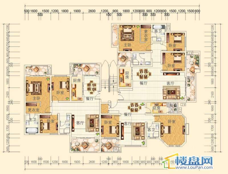 万豪城9-1-(1、2、3)-1、2、3号房户型2室2厅1卫1厨