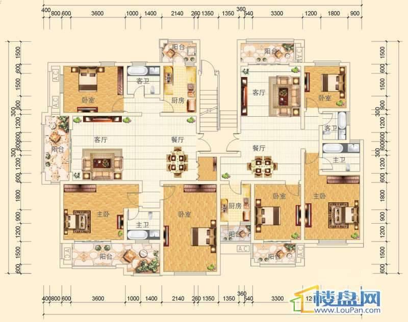 万豪城8-1-(1、2)-1、2号房户型3室2厅2卫1厨