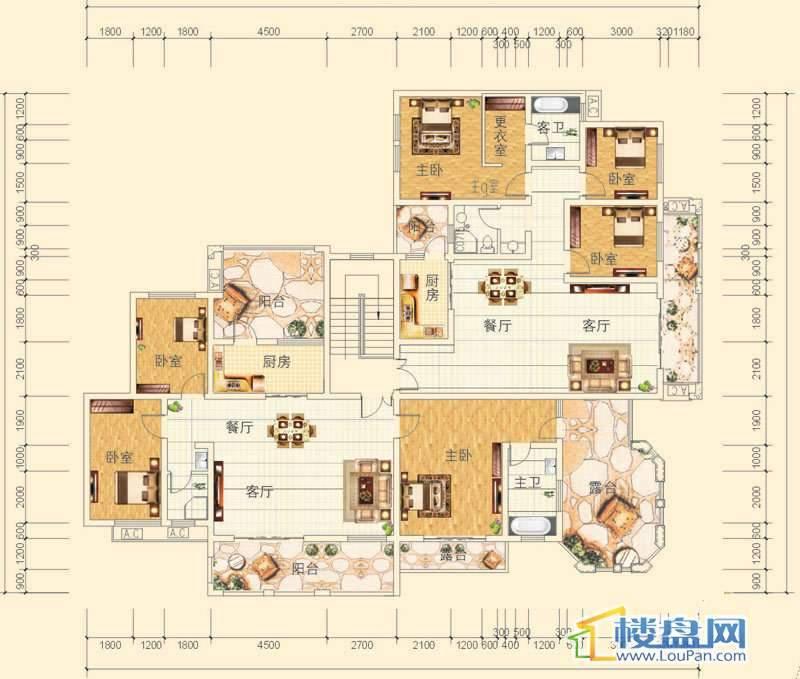 万豪城9-1-(5)-2号房户型3室2厅2卫1厨