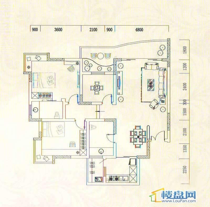 遵义城市广场4栋4、5、10户型3室2厅2卫1厨