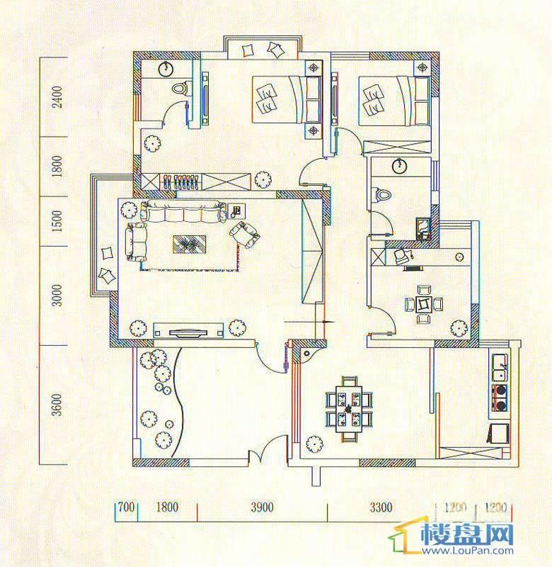 遵义城市广场7栋1、2户型 16栋1、2户型3室2厅2卫1厨