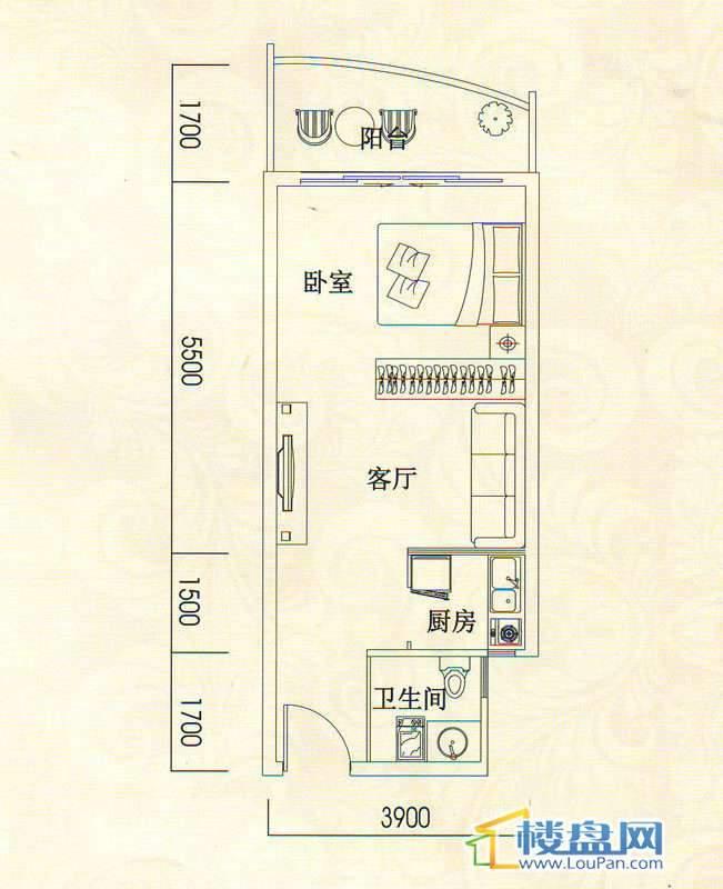 遵义城市广场A1户型1室1厅1卫1厨