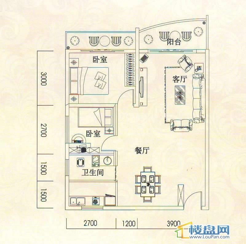 遵义城市广场A2户型2室2厅1卫1厨