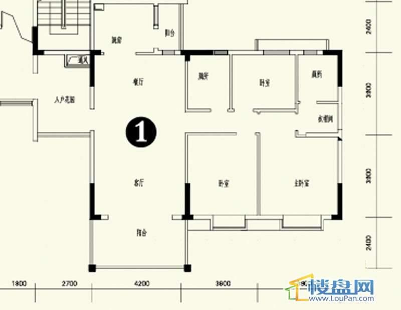森林溪畔A4栋123单元标准层1号房3室2厅2卫1厨