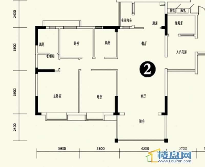 森林溪畔A4栋123单元标准层2号房3室2厅2卫1厨