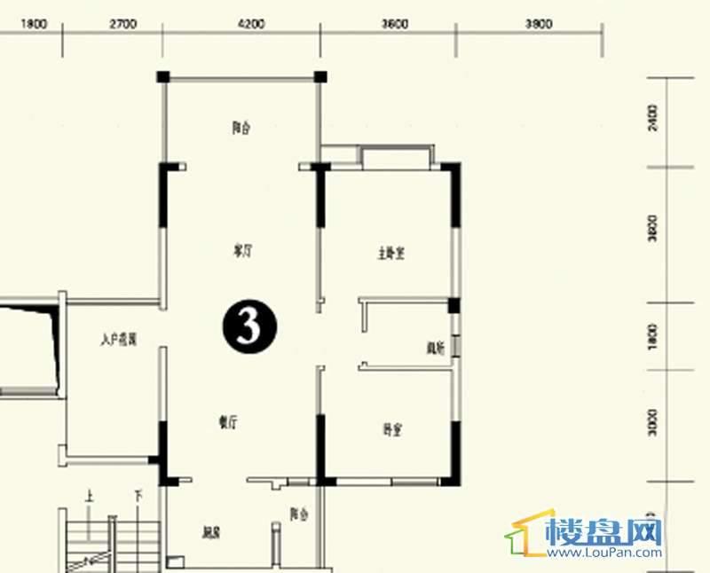森林溪畔A4栋123单元标准层3号房2室2厅1卫1厨