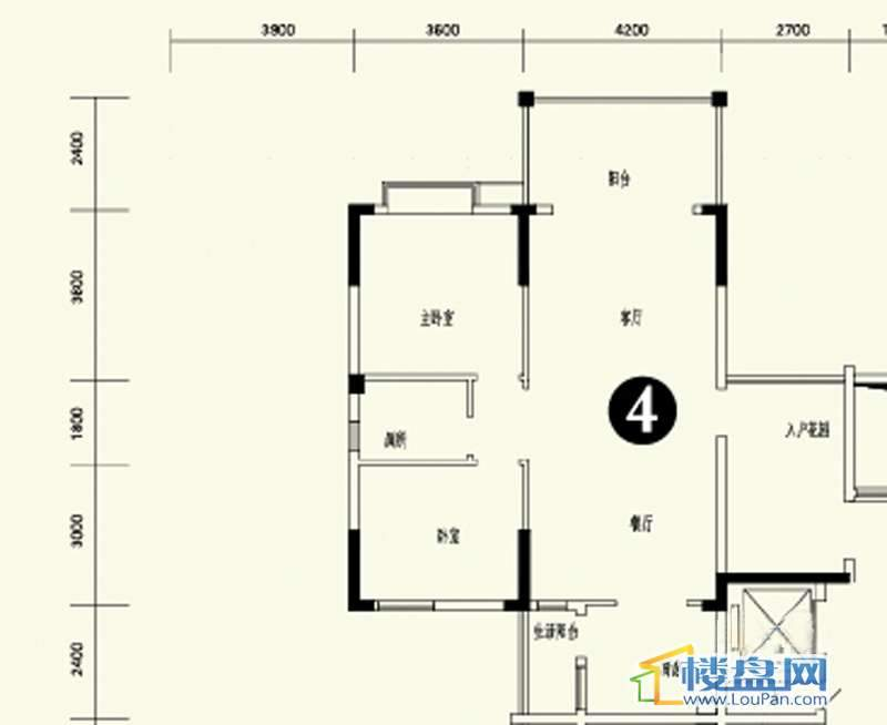 森林溪畔A4栋123单元标准层4号房2室2厅1卫1厨