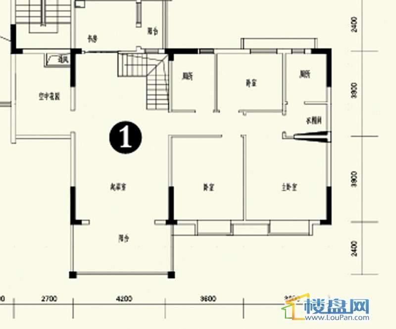 森林溪畔A4栋123单元顶层复式1号房上层6室3厅4卫1厨