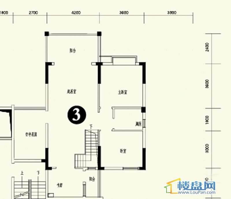 森林溪畔A4栋123单元顶层复式3号房上层4室3厅2卫1厨