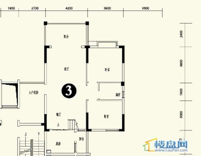 森林溪畔A4栋123单元顶层复式3号房首层4室3厅2卫1厨