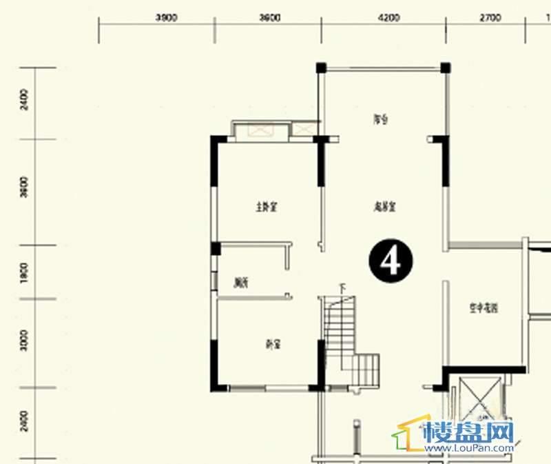 森林溪畔A4栋123单元顶层复式4号房上层4室3厅2卫1厨