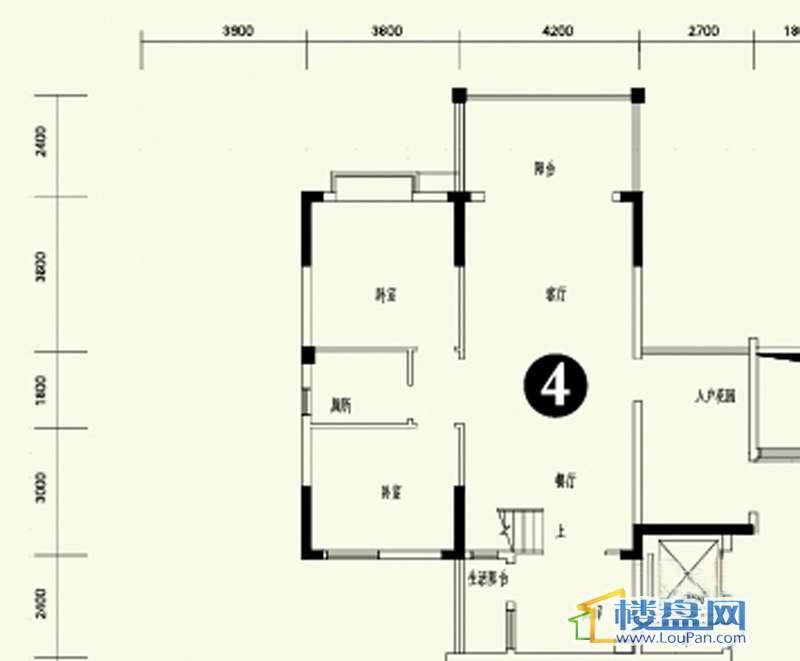 森林溪畔A4栋123单元顶层复式4号房首层4室3厅2卫1厨
