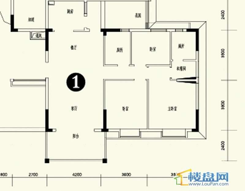 森林溪畔A4栋123单元首层1号房3室2厅2卫1厨