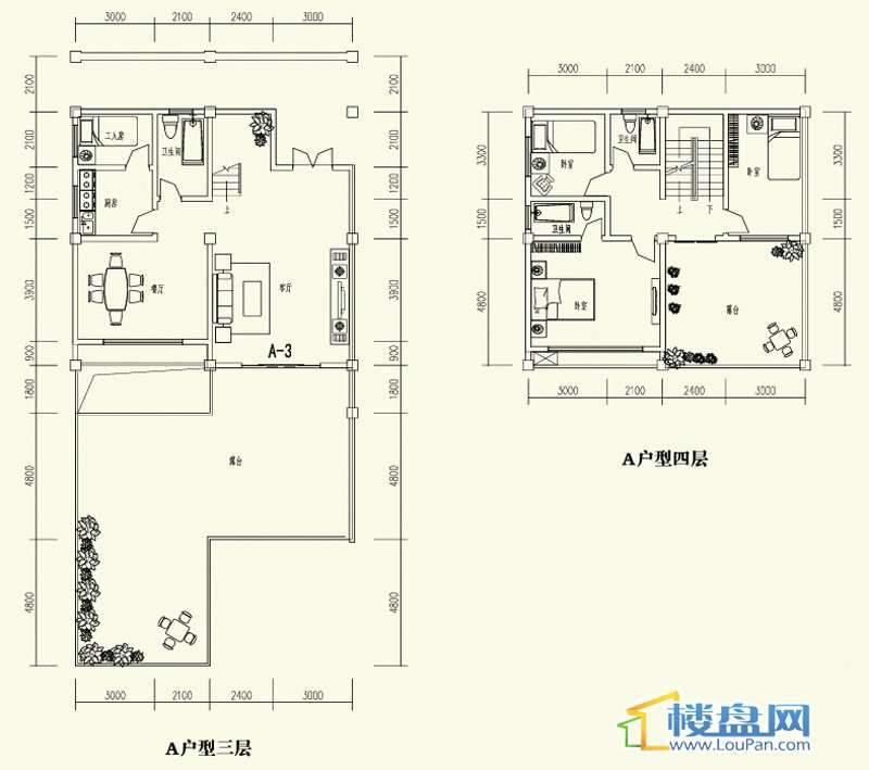 森林溪畔别墅A户型三、四层4室2厅3卫1厨