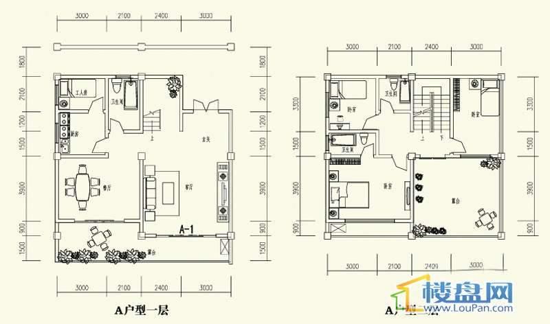 森林溪畔别墅A户型一、二层4室3厅3卫1厨