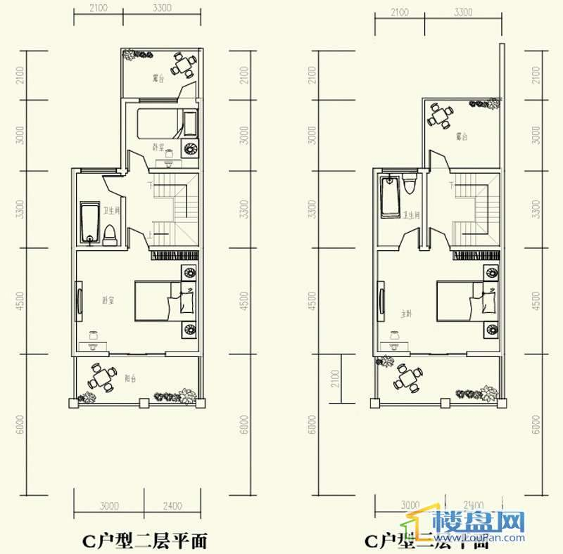 森林溪畔别墅C户型二、三层3室2厅3卫1厨