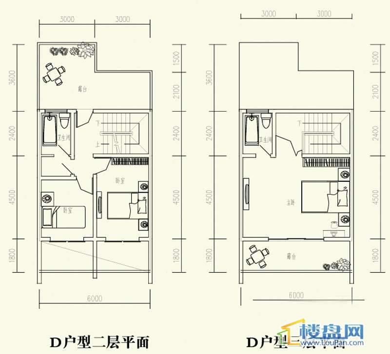 森林溪畔别墅D户型二、三层3室2厅3卫1厨