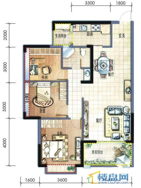 坤元水木清华1栋1单元C、户型3室2厅1卫1厨
