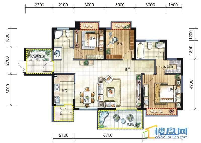 坤元水木清华1栋2单元A户型3室2厅2卫1厨