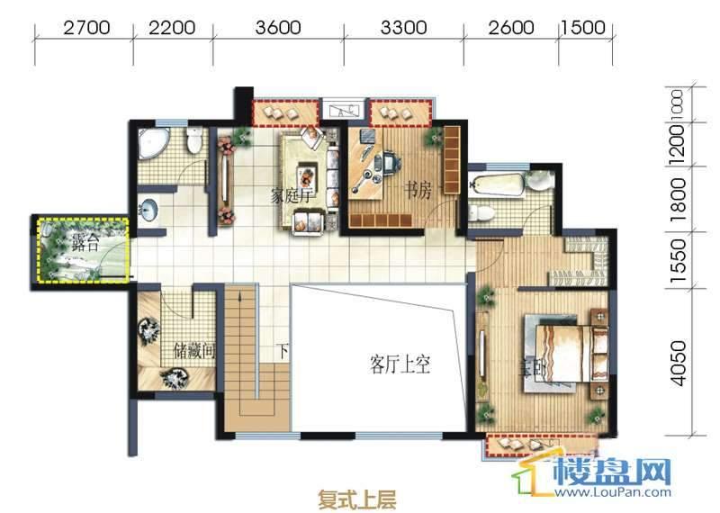 坤元水木清华1栋2单元A户型复式上层4室3厅4卫1厨