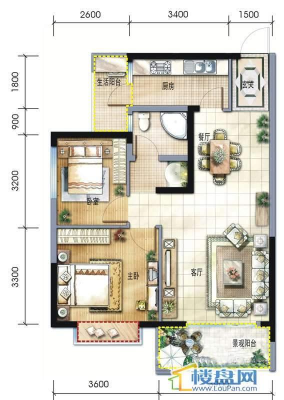 坤元水木清华1栋2单元C、D户型2室2厅1卫1厨