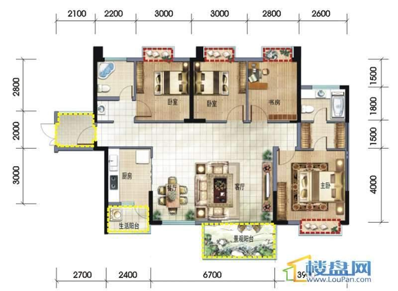 坤元水木清华7栋A户型户型4室2厅2卫1厨