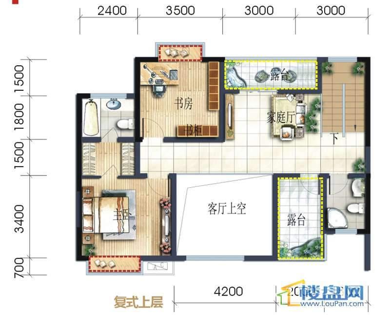 坤元水木清华7栋B户型复式上层4室3厅4卫1厨