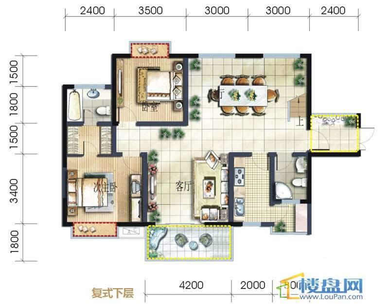 坤元水木清华7栋B户型复式下层4室3厅4卫1厨
