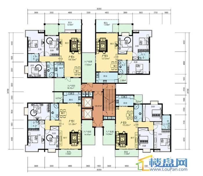 1号楼标准层平面图