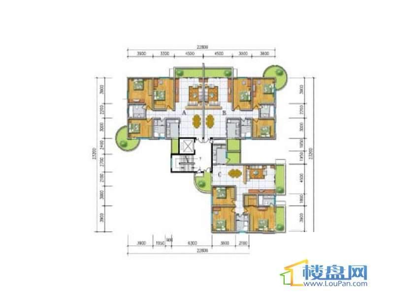 水岸金都6组团7#标准层平面图3室2厅1卫1厨