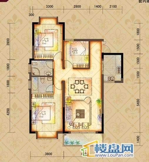 鸿基文昌苑A1户型 3室2厅2卫1厨